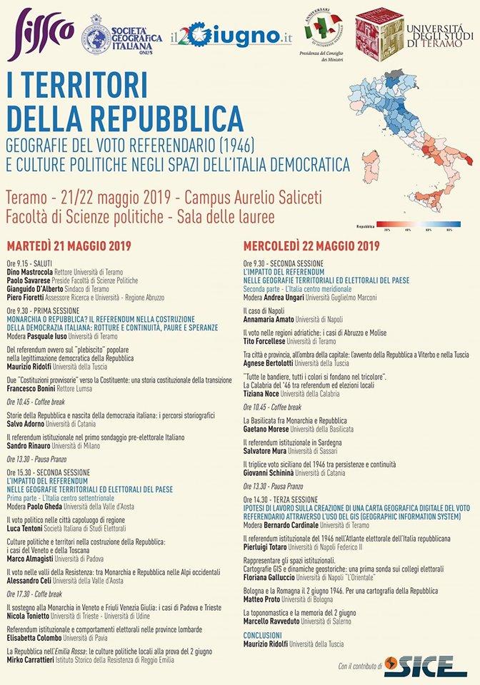 """Convegno """"I territori della Repubblica. Geografie del voto referendario (1946) e culture politiche negli spazi dell'Italia democratica""""."""